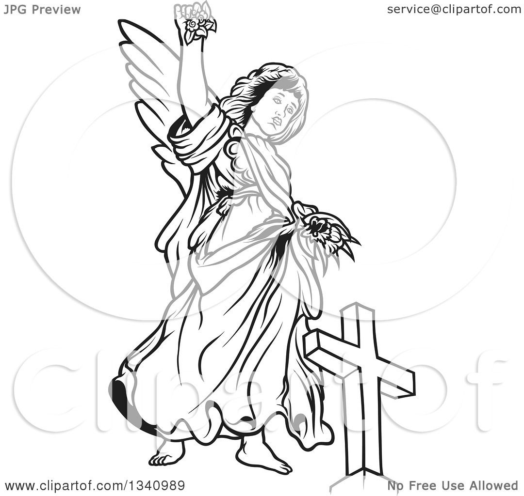 Clipart Of A Black And White Female Angel Holding Up