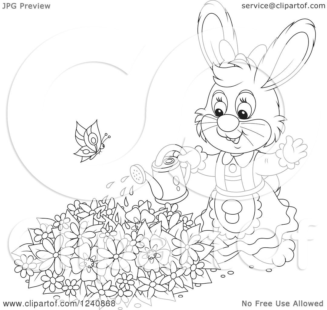 Clipart Of A Black And White Female Bunny Rabbit Watering