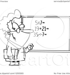 clipart of a black and white female math teacher at a chalk board royalty free vector illustration by toonaday [ 1080 x 1024 Pixel ]