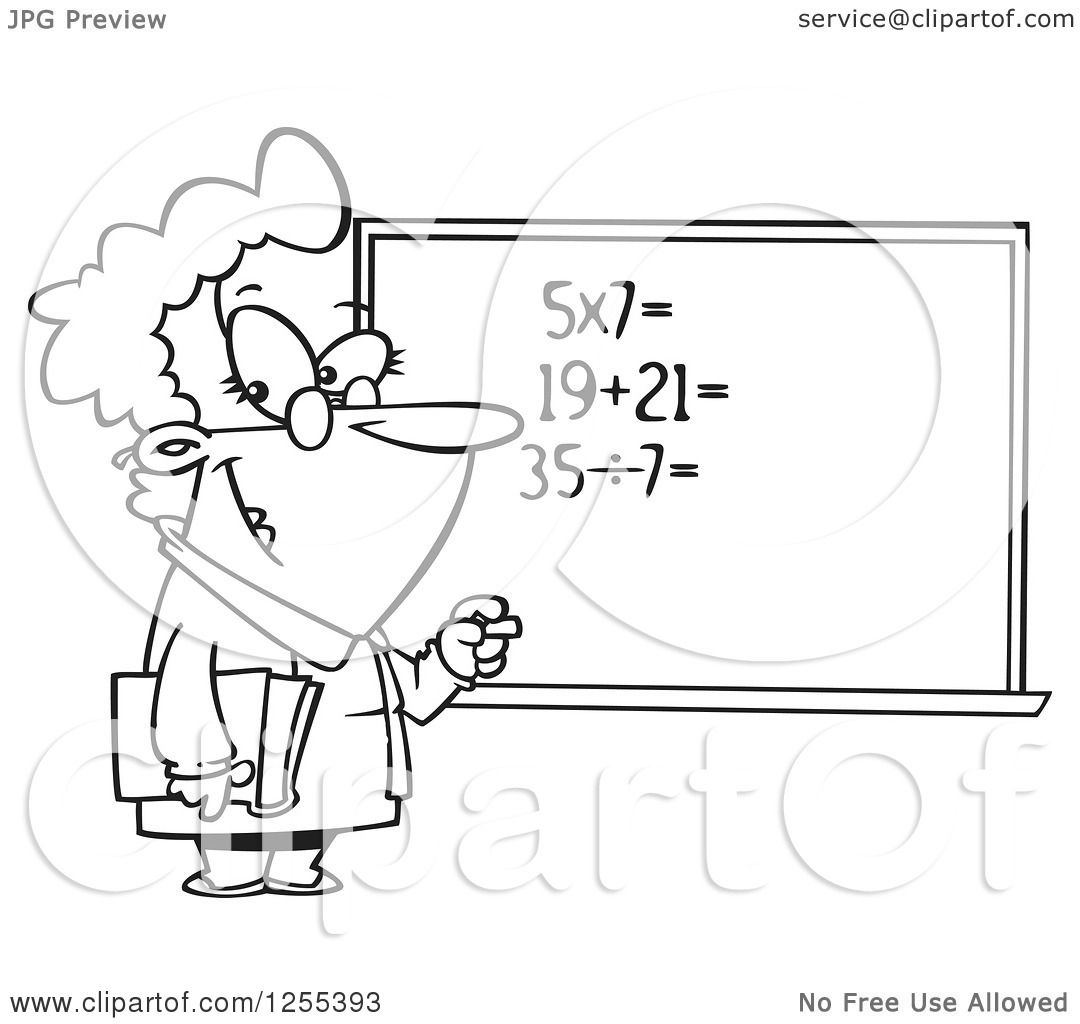 hight resolution of clipart of a black and white female math teacher at a chalk board royalty free vector illustration by toonaday