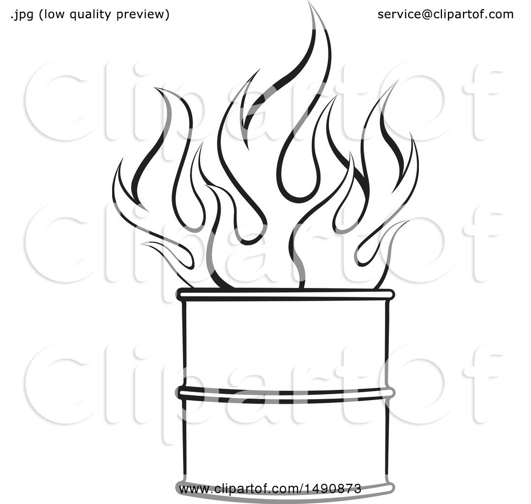 Clipart Of A Black And White Fire In A Barrel