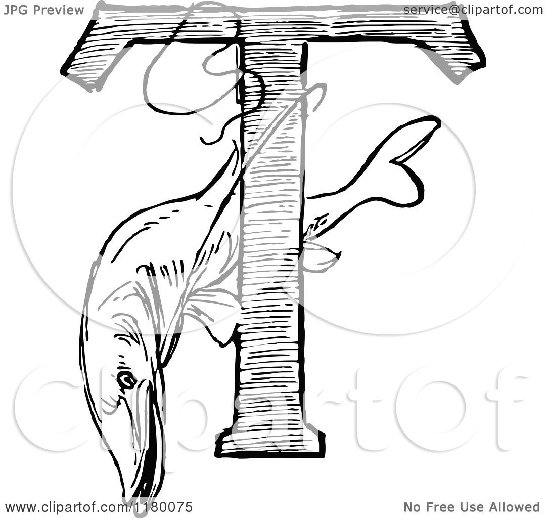 Clipart Of A Black And White Fish And Letter T