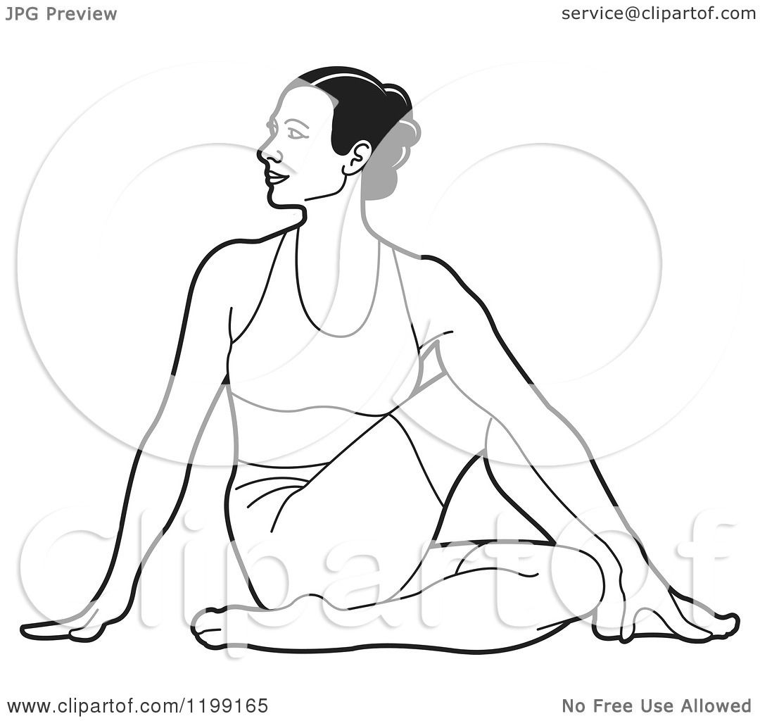 Clipart Of A Black And White Fit Woman In The Ardha