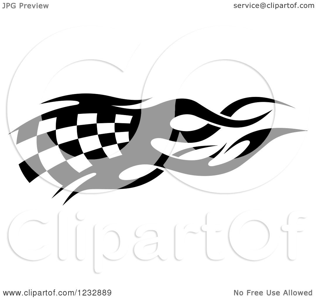 Clipart Of A Black And White Flaming Checkered Racing Flag