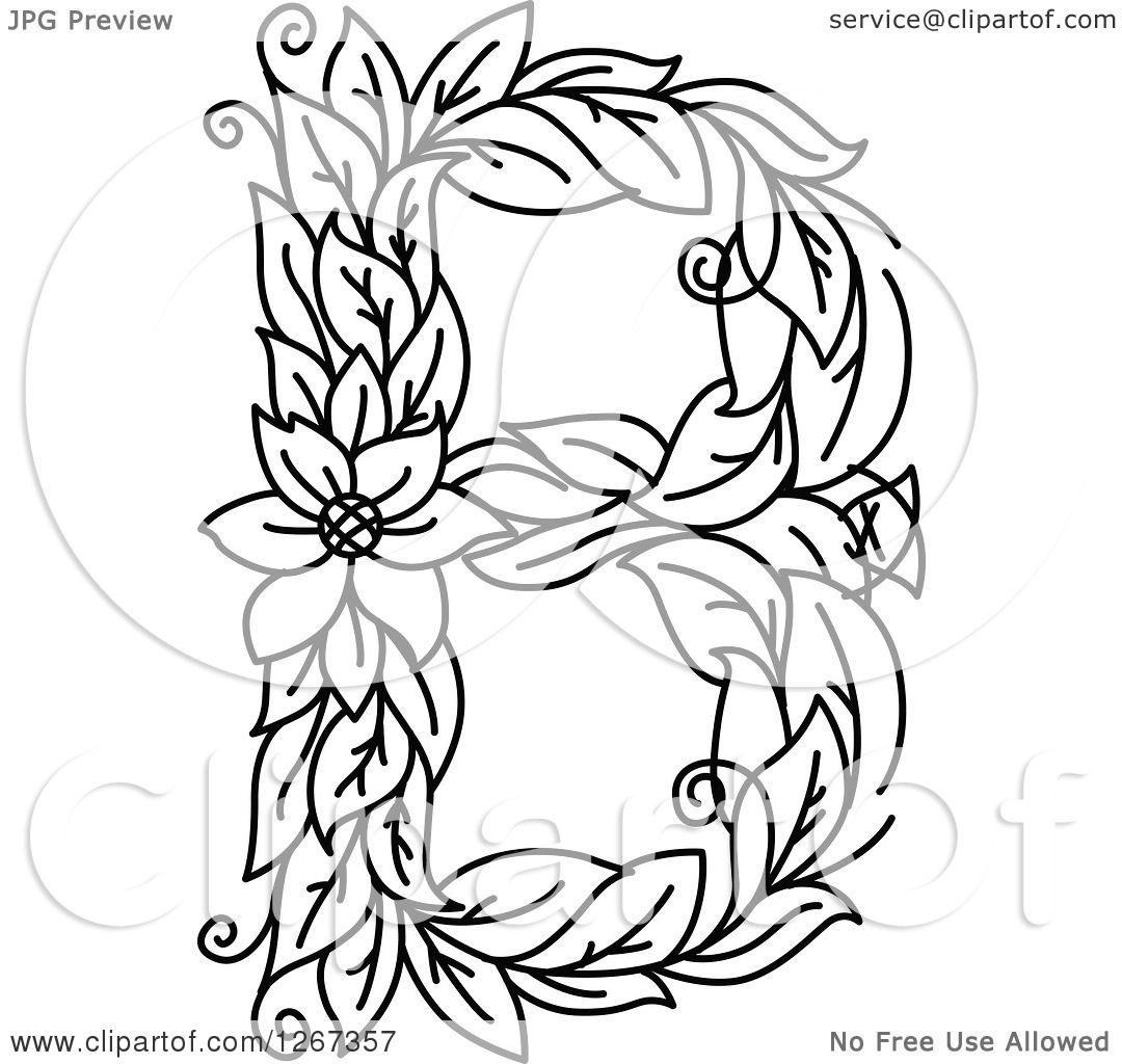 Clipart Of A Black And White Floral Capital Letter B With