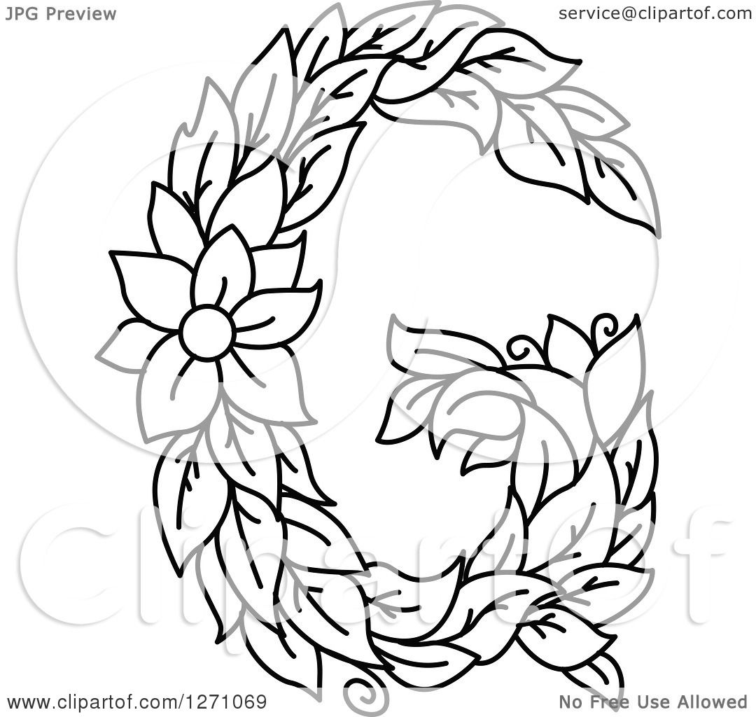 Clipart Of A Black And White Floral Capital Letter G With