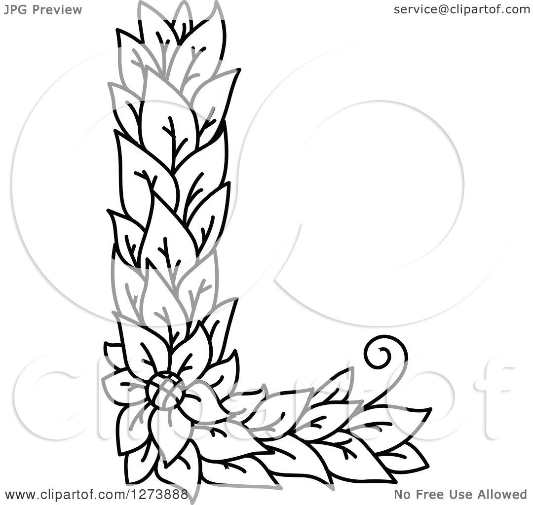 Clipart Of A Black And White Floral Capital Letter L With