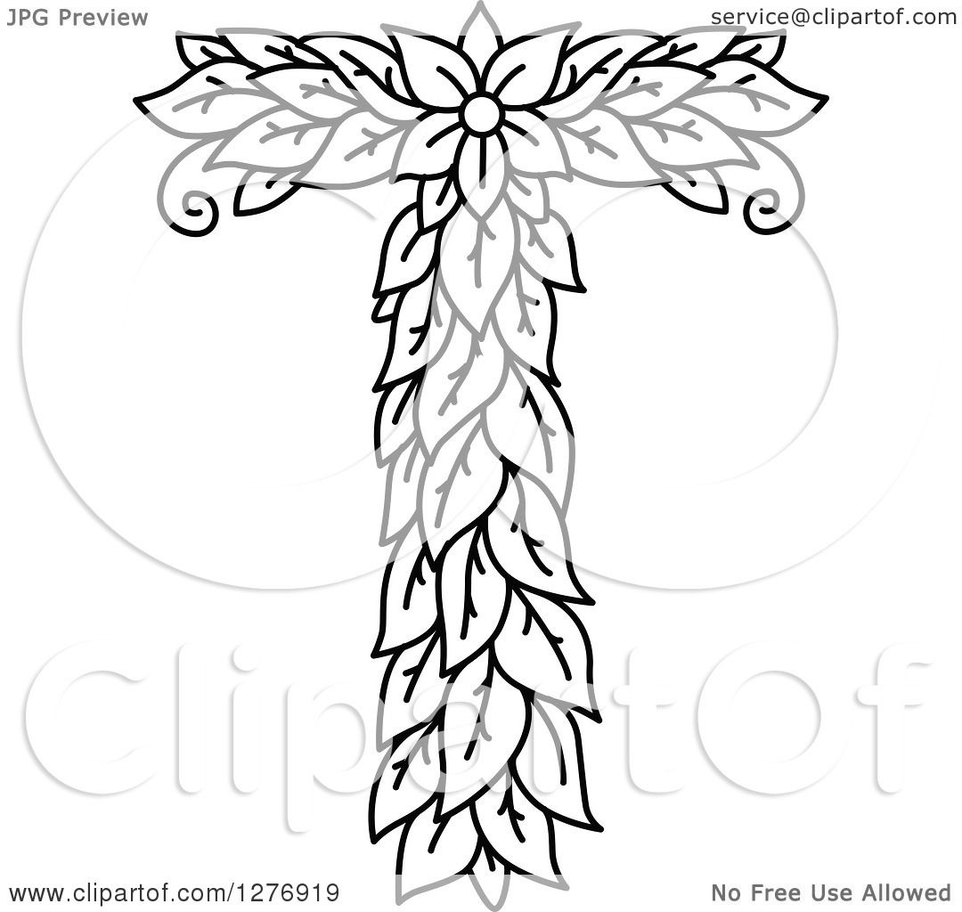 Clipart Of A Black And White Floral Capital Letter T With