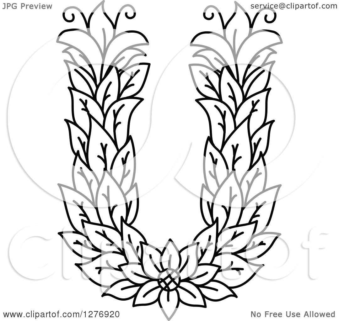Clipart Of A Black And White Floral Capital Letter U With