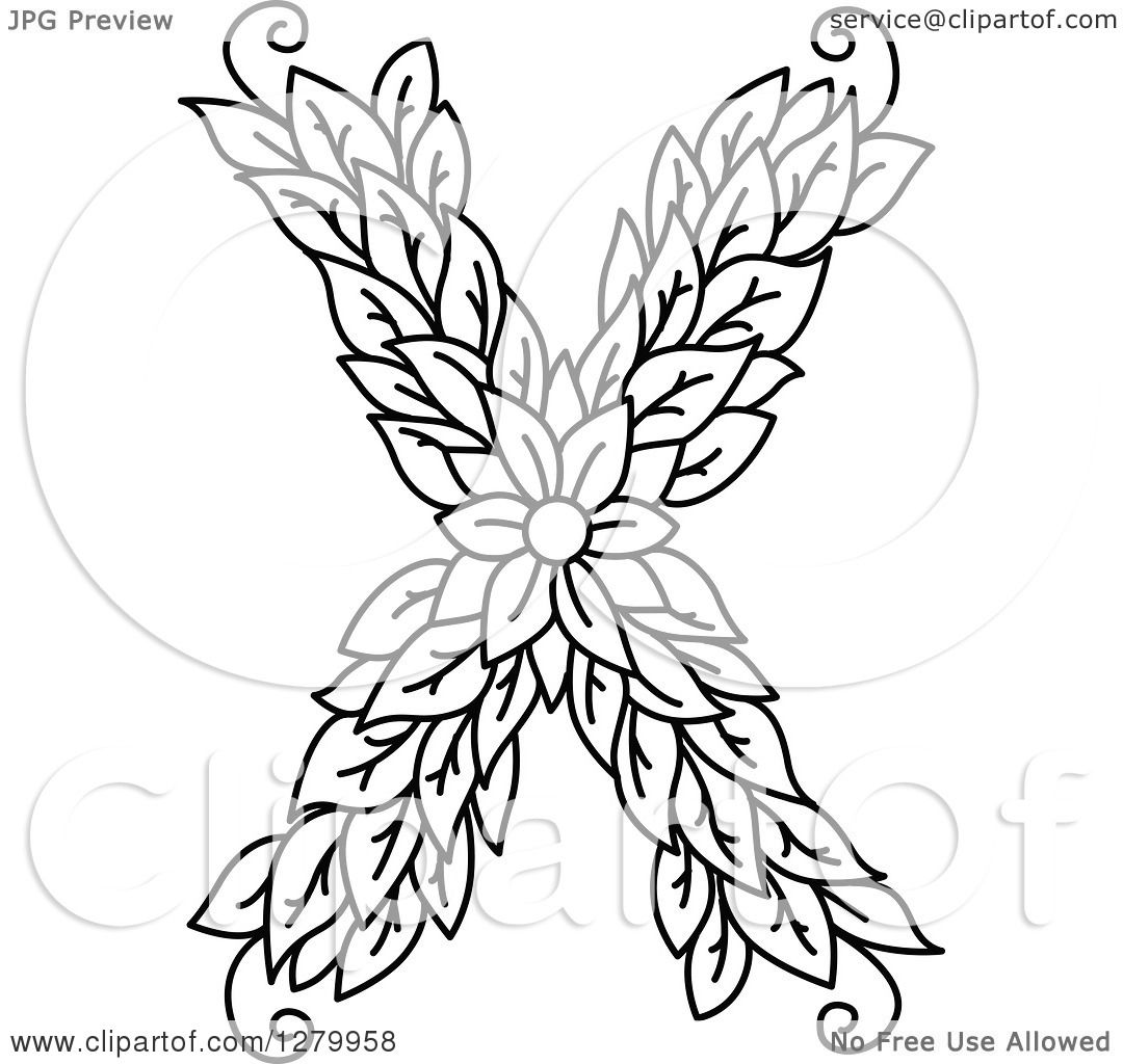 Clipart of a Black and White Floral Capital Letter X with