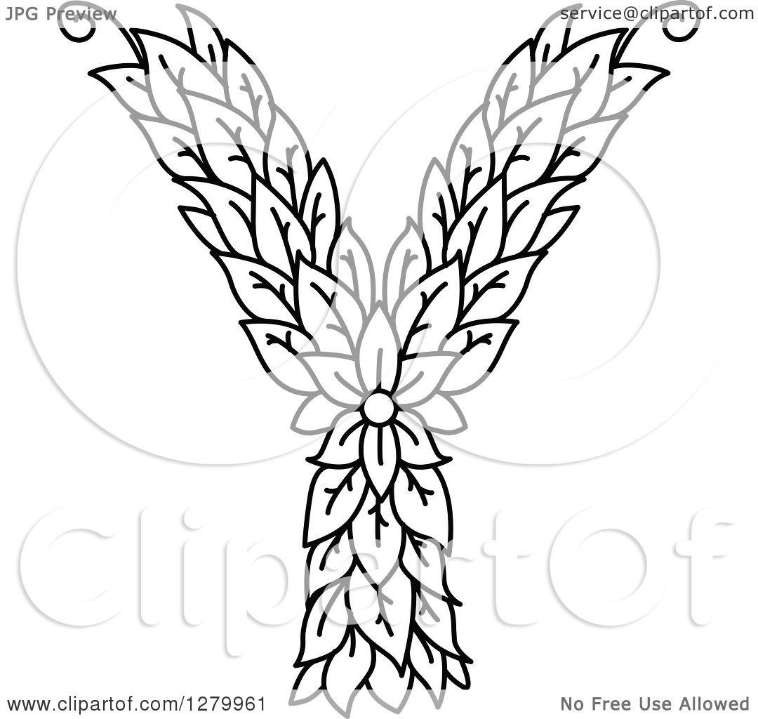 Clipart Of A Black And White Floral Capital Letter Y With