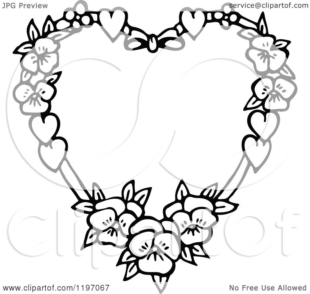 Clipart Of A Black And White Floral Heart