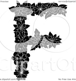 clipart of a black and white floral uppercase alphabet letter f royalty free vector illustration by vector tradition sm [ 1080 x 1024 Pixel ]