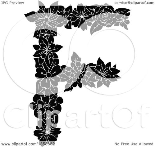 small resolution of clipart of a black and white floral uppercase alphabet letter f royalty free vector illustration by vector tradition sm