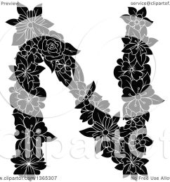 clipart of a black and white floral uppercase alphabet letter n royalty free vector illustration by vector tradition sm [ 1080 x 1024 Pixel ]