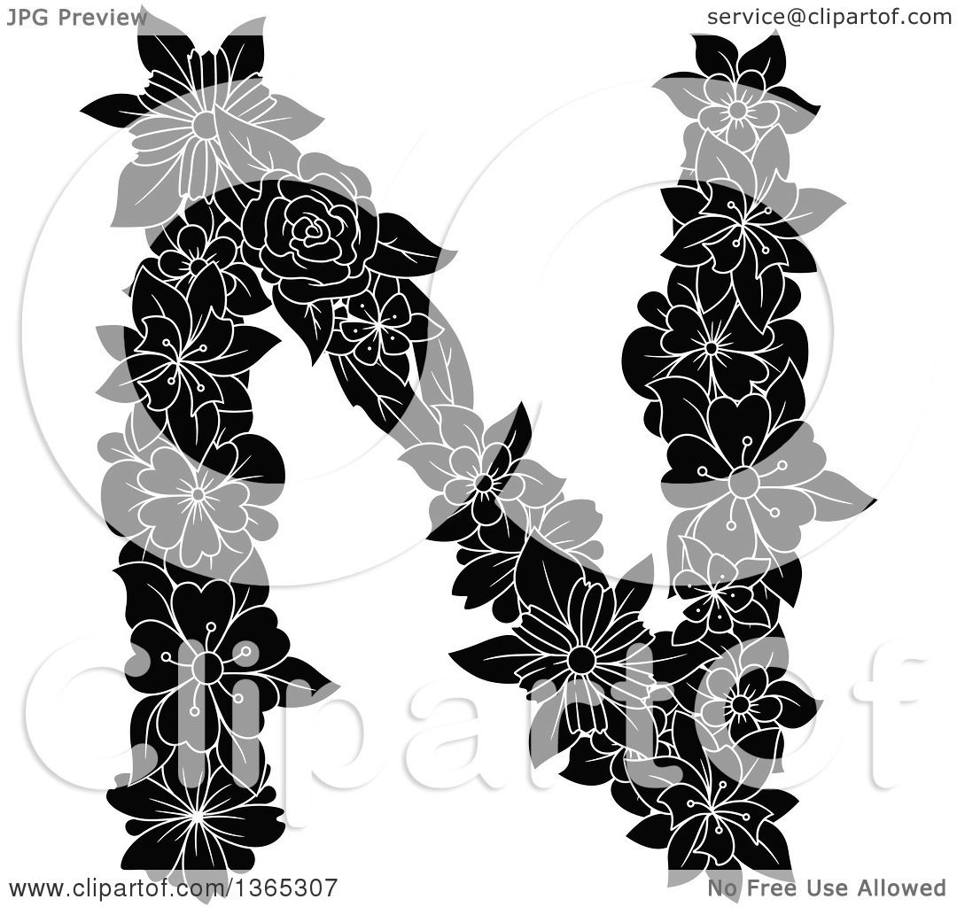 hight resolution of clipart of a black and white floral uppercase alphabet letter n royalty free vector illustration by vector tradition sm