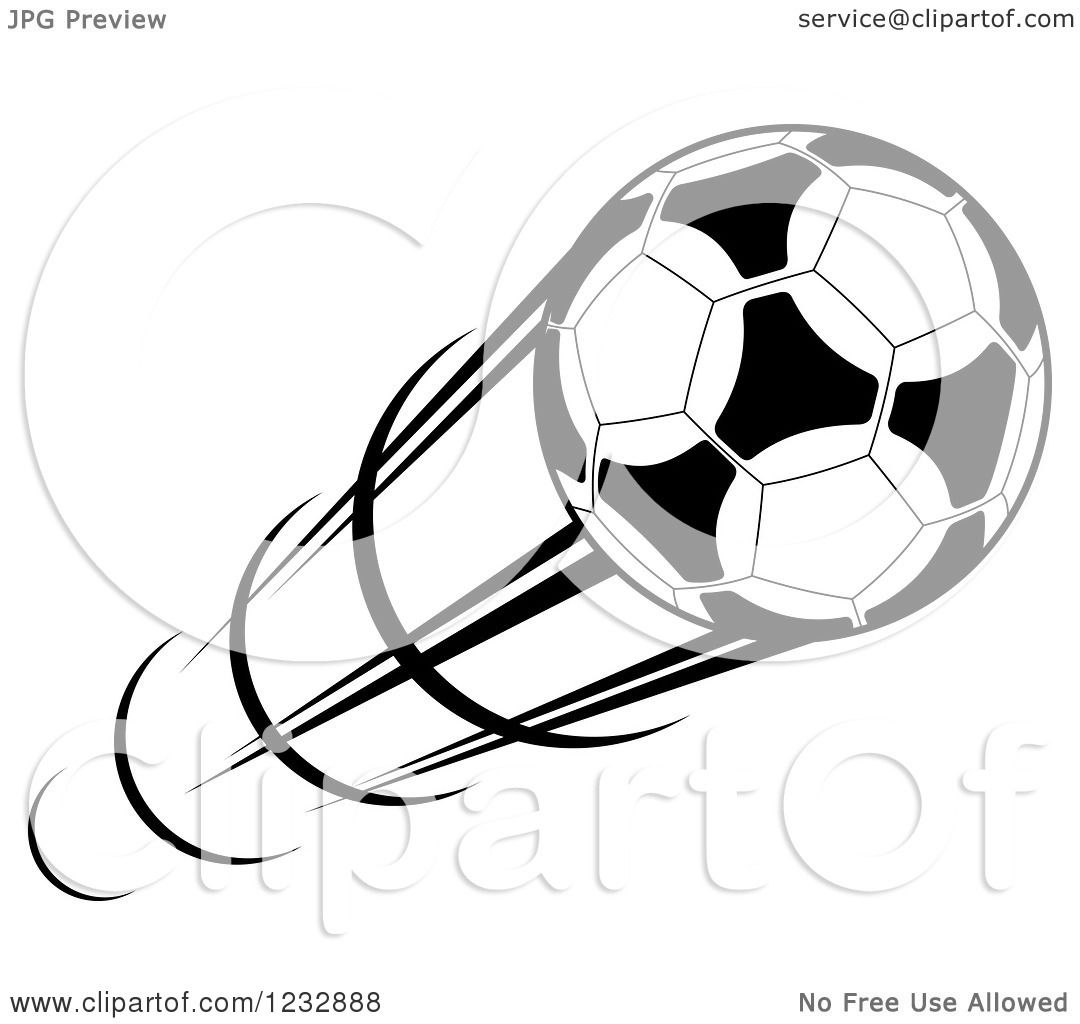 Clipart Of A Black And White Flying Soccer Ball 5