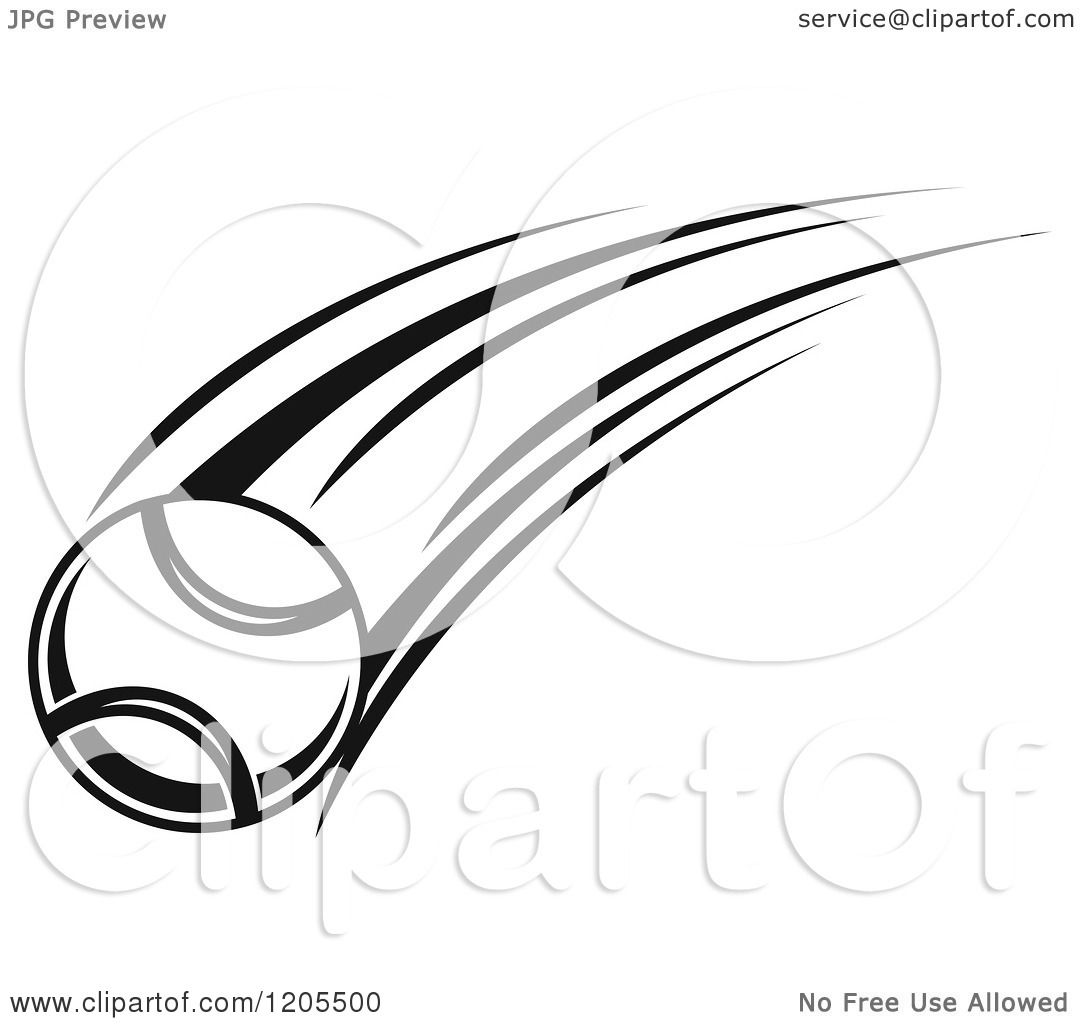 Clipart Of A Black And White Flying Tennis Ball 2