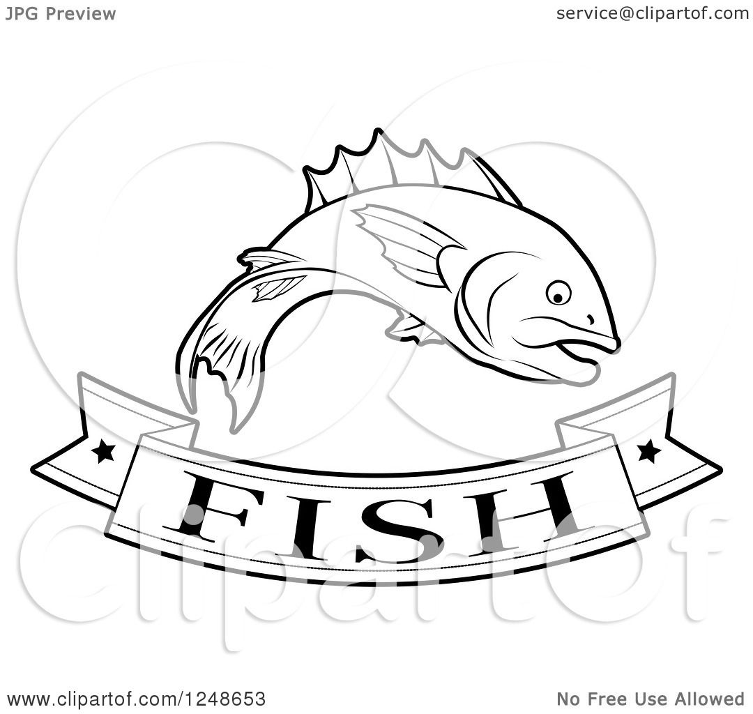 Clipart Of A Black And White Food Banner And Fish