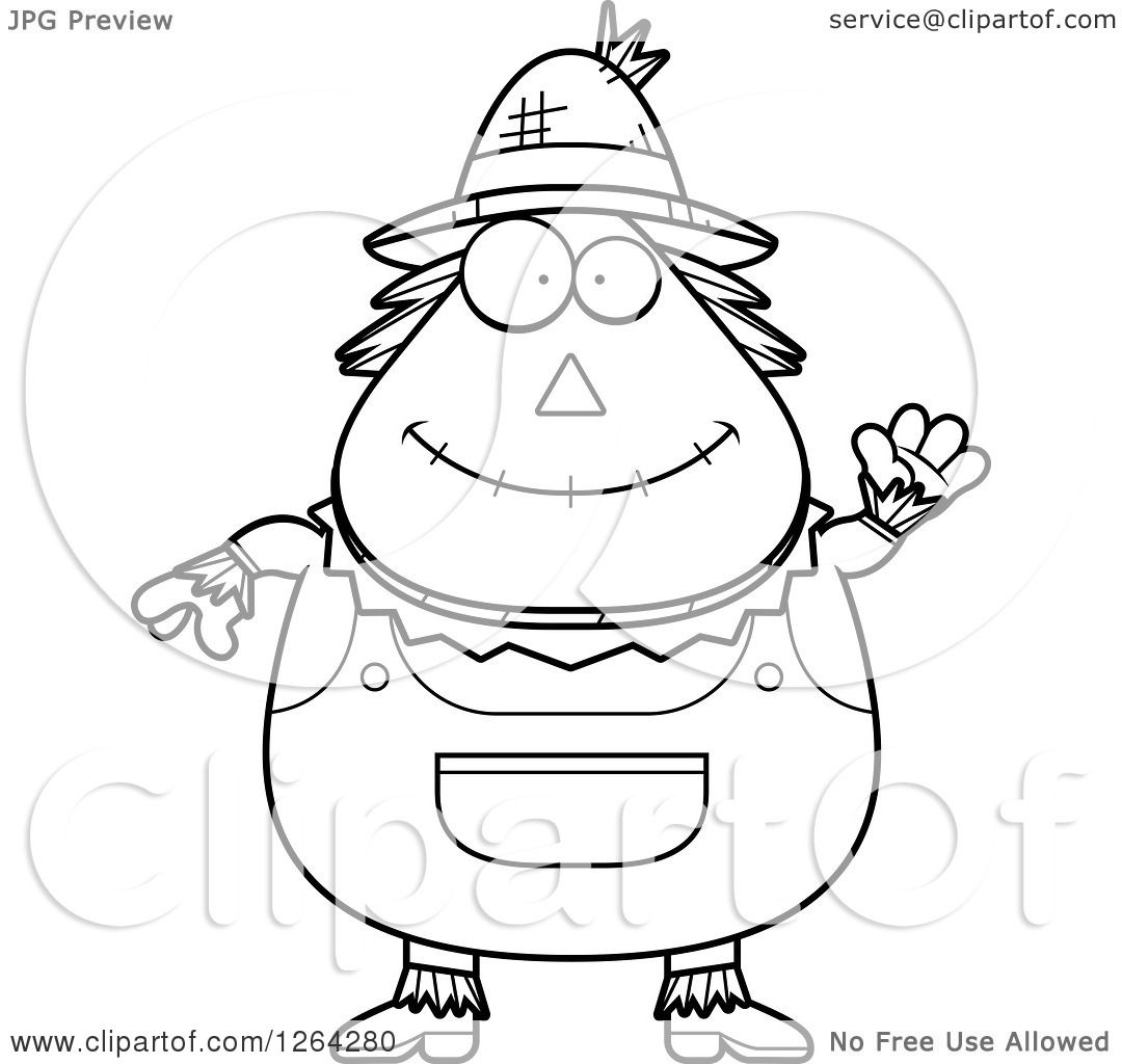 Clipart Of A Black And White Friendly Waving Cartoon