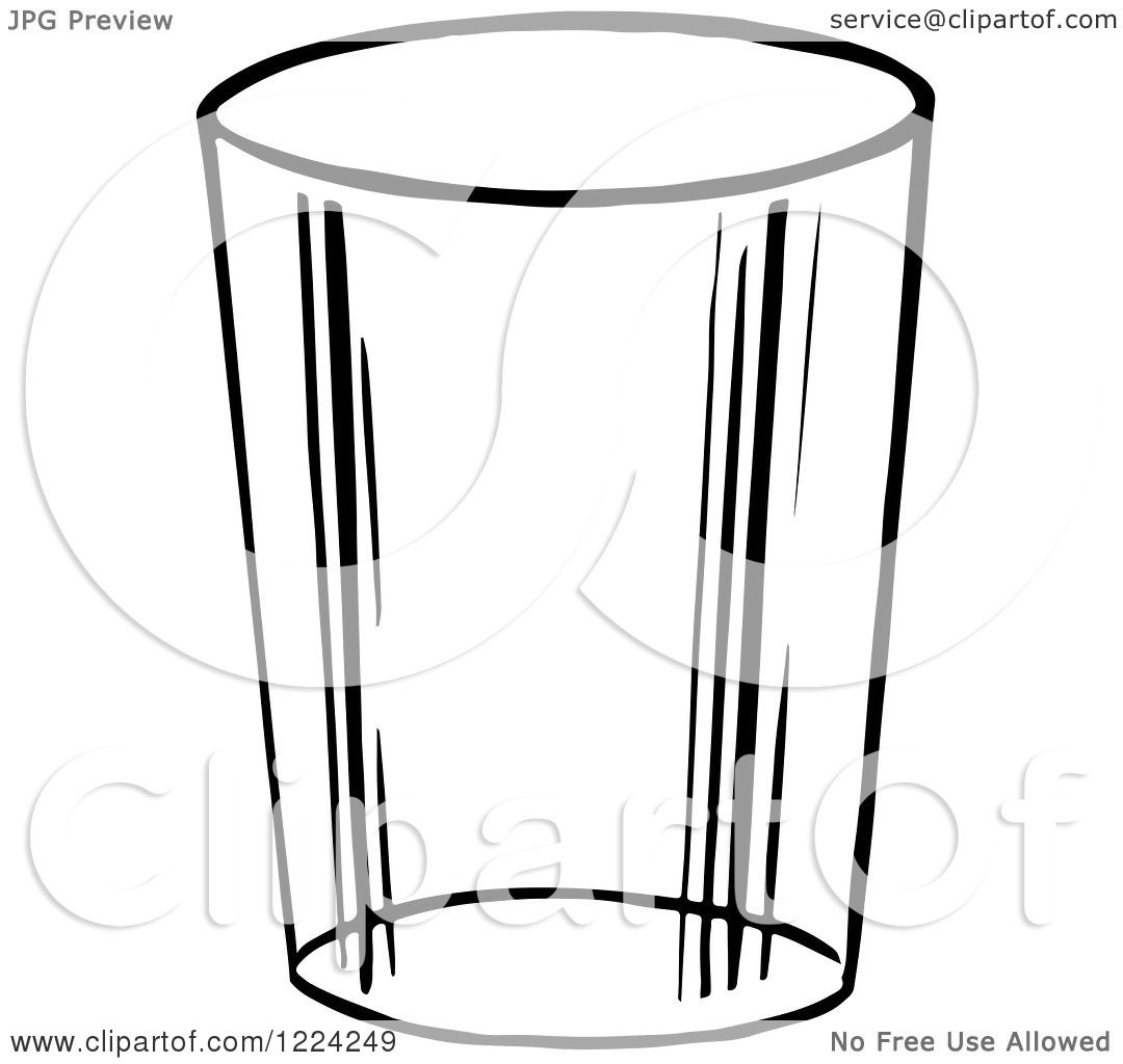 Clipart Of A Black And White Glass Cup
