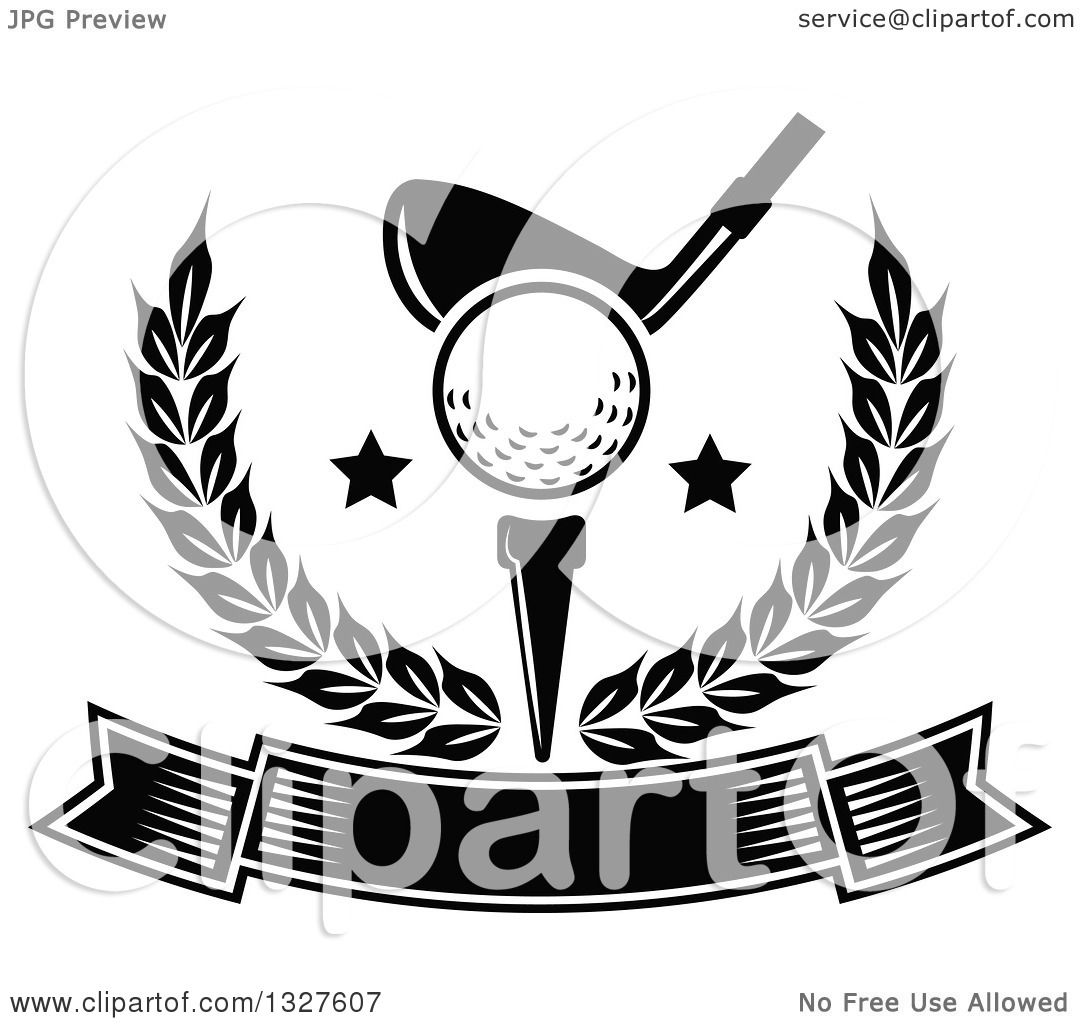 Clipart Of A Black And White Golf Club Against A Ball On A Tee With Stars In A Wreath Over A
