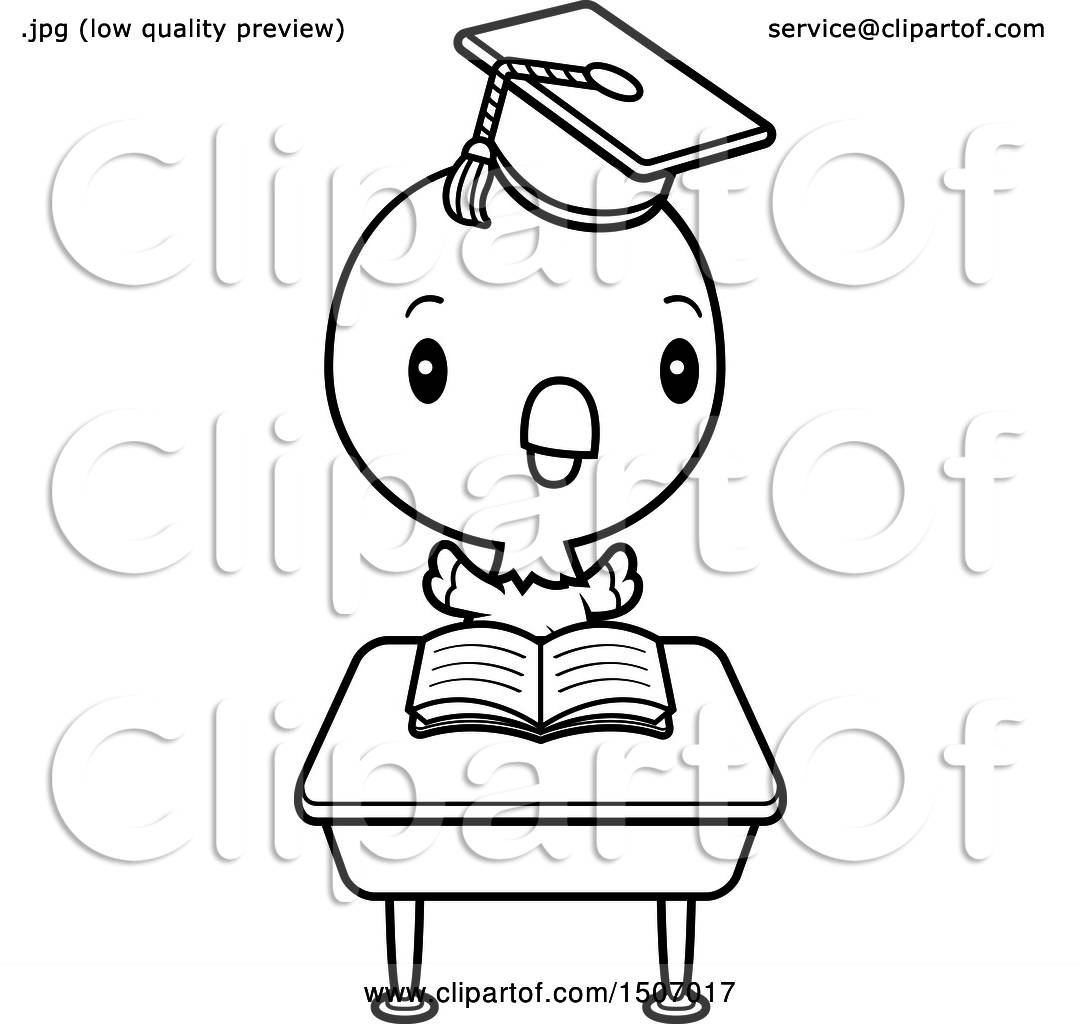Clipart Of A Black And White Graduate Student Parrot