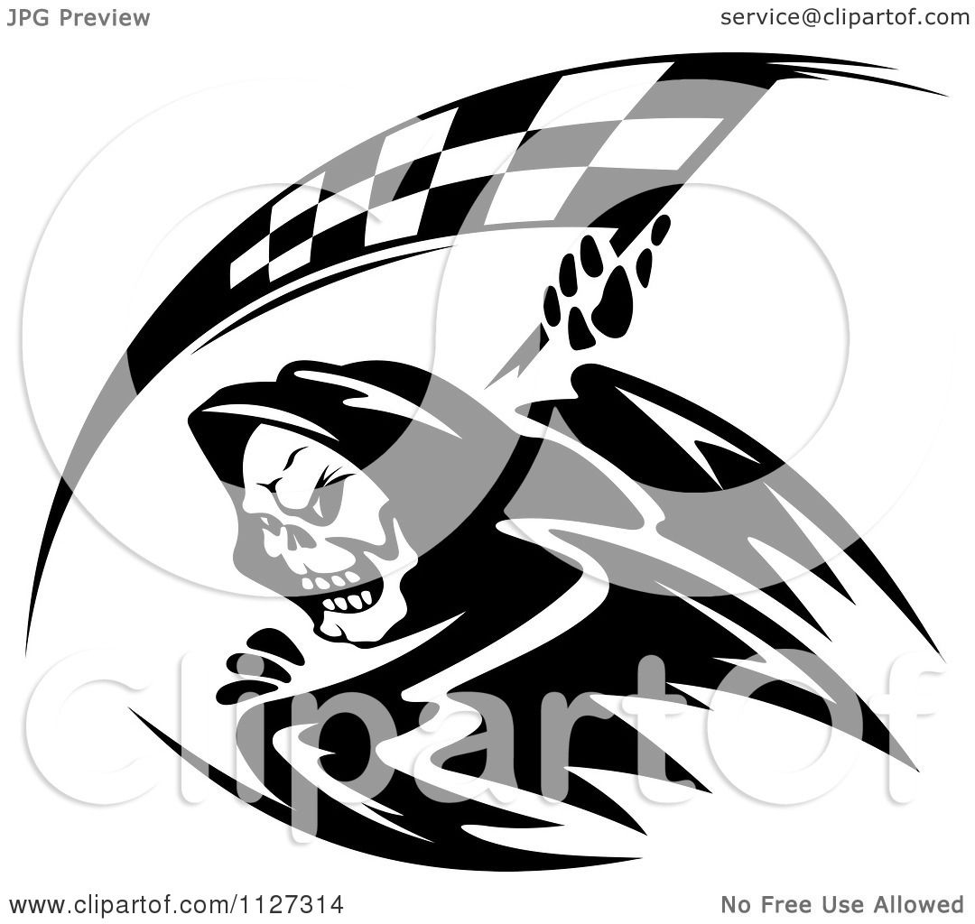 Clipart Of A Black And White Grim Reaper With A Racing