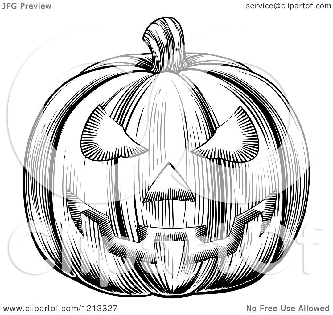 Clipart Of A Black And White Halloween Woodcut