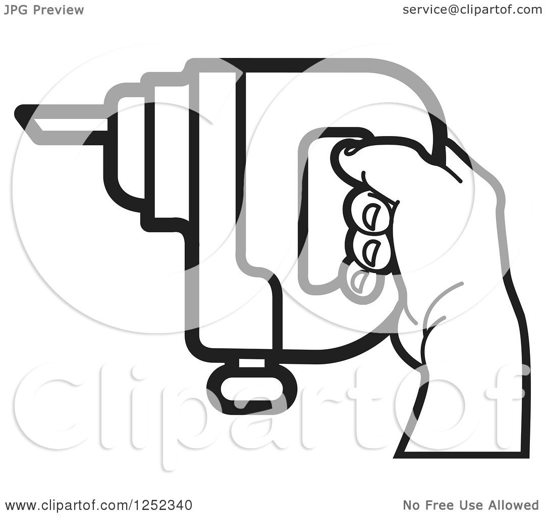 Clipart of a Black and White Hand Holding a Drill