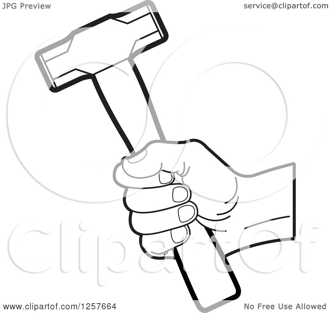 Clipart Of A Black And White Hand Holding A Hammer