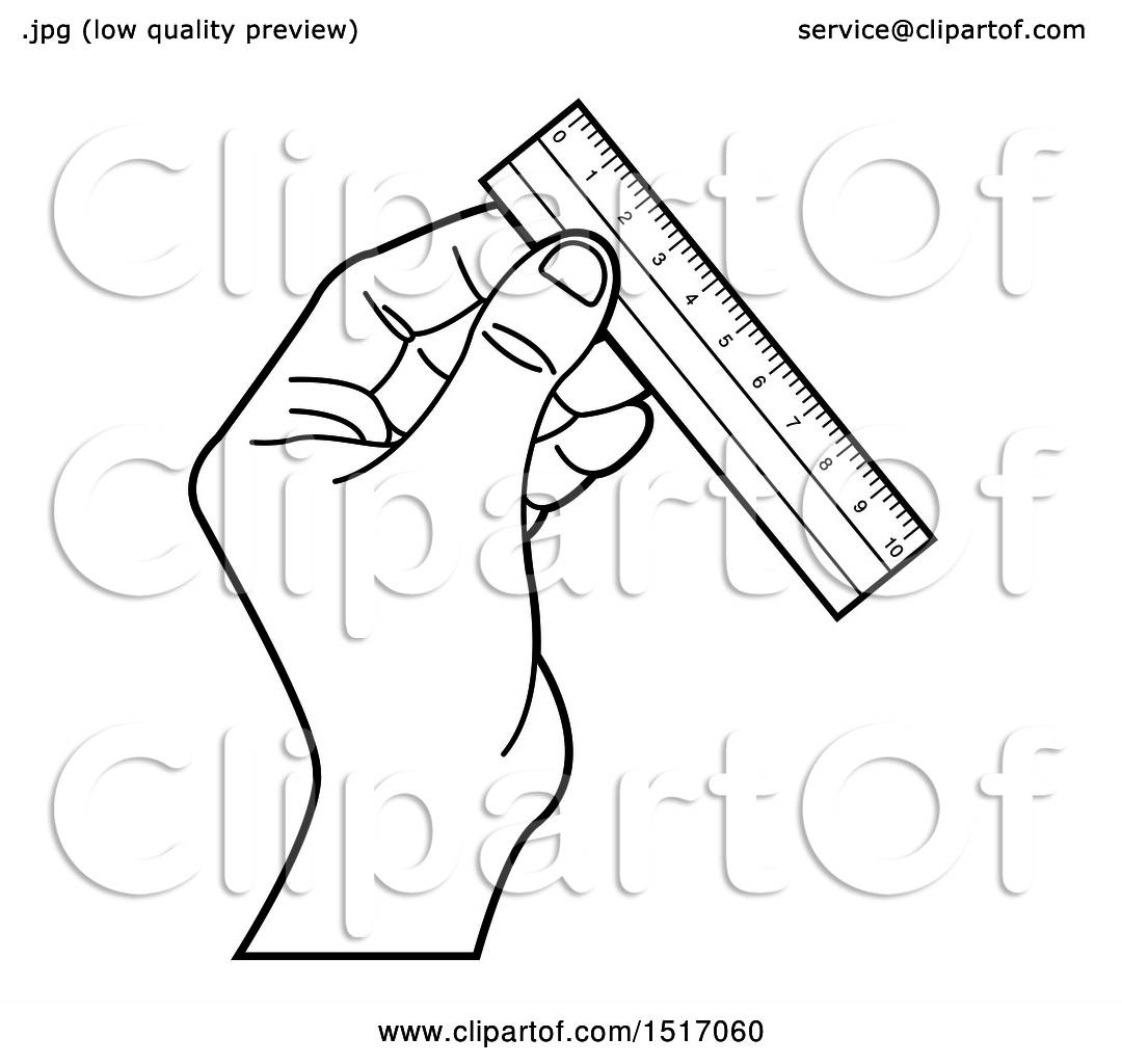 Clipart Of A Black And White Hand Holding A Ruler