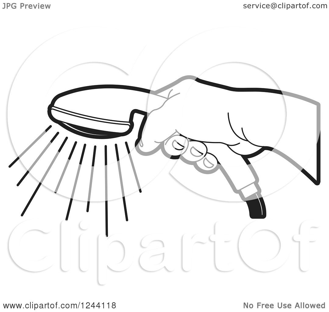 Clipart Of A Black And White Hand Holding A Shower Head