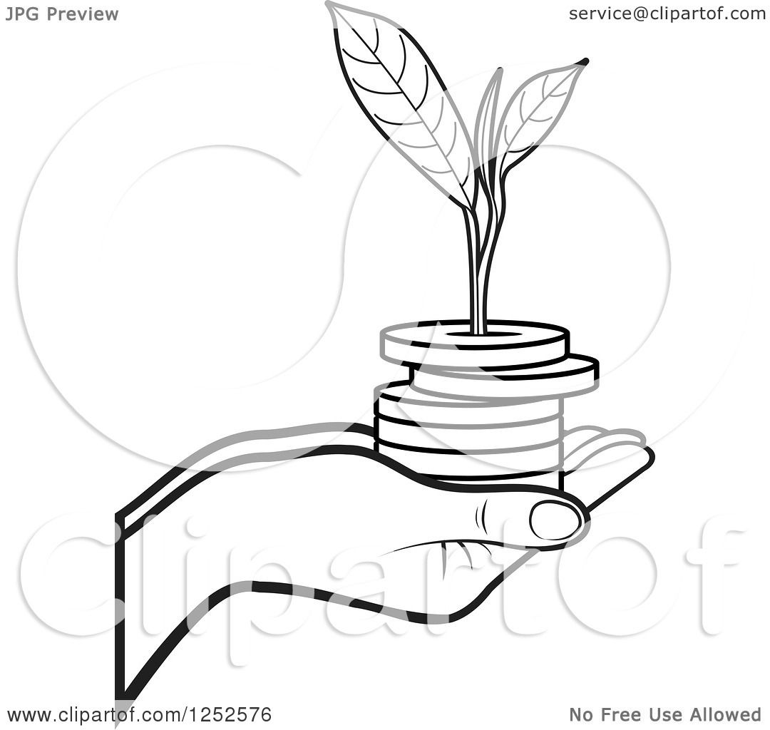 Clipart Of A Black And White Hand Holding A Stack Of Coins
