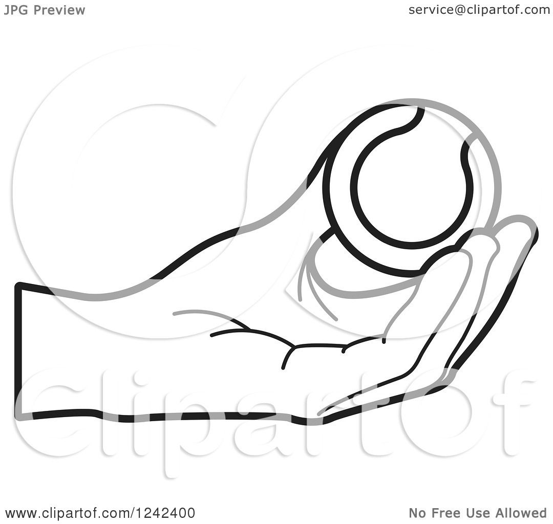 Clipart Of A Black And White Hand Holding A Tennis Ball