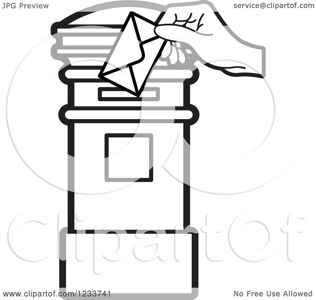 Clipart Of A Black And White Hand Inserting An Envelope In