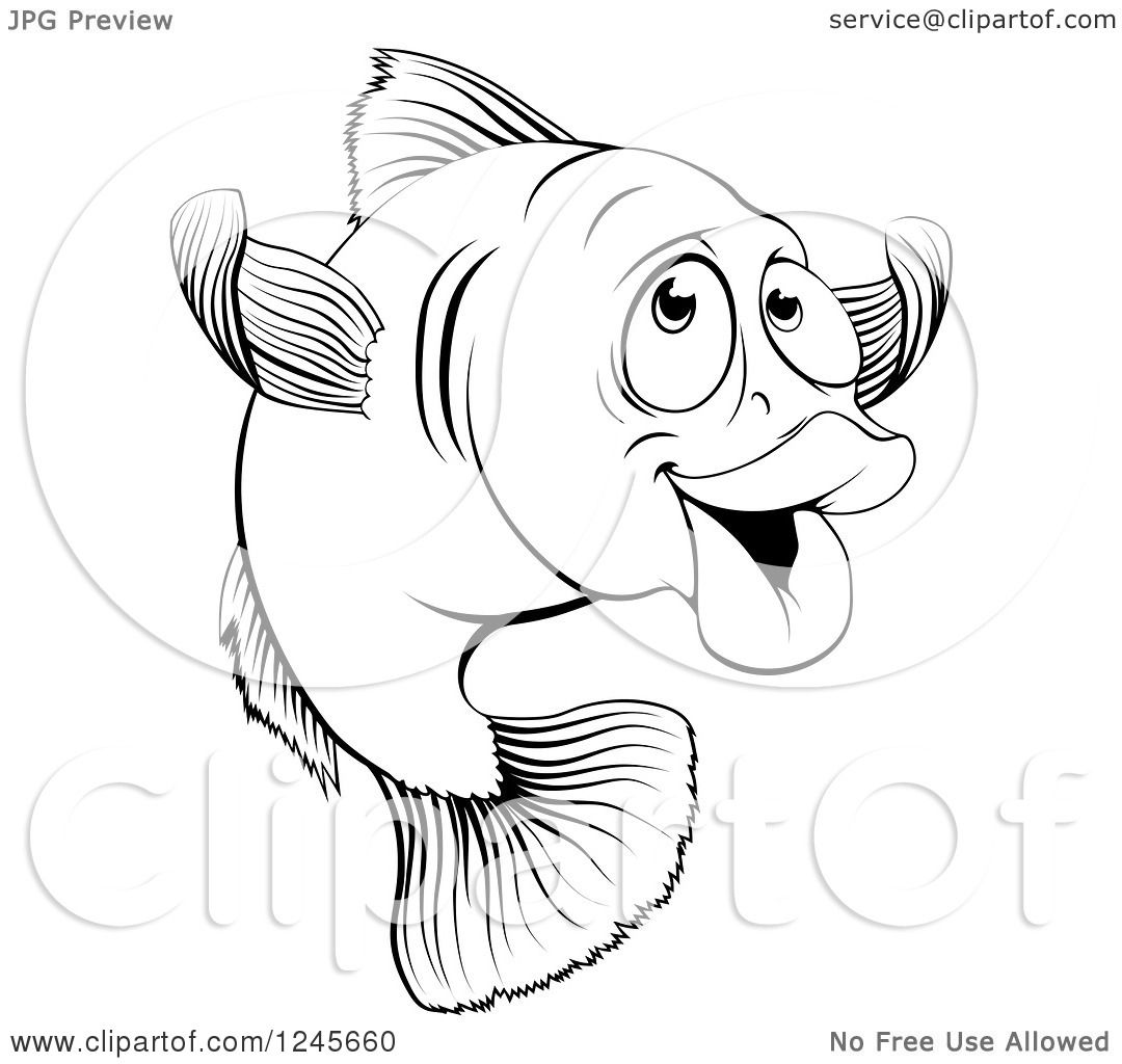 Clipart Of A Black And White Happy Cod Fish Gesturing To E