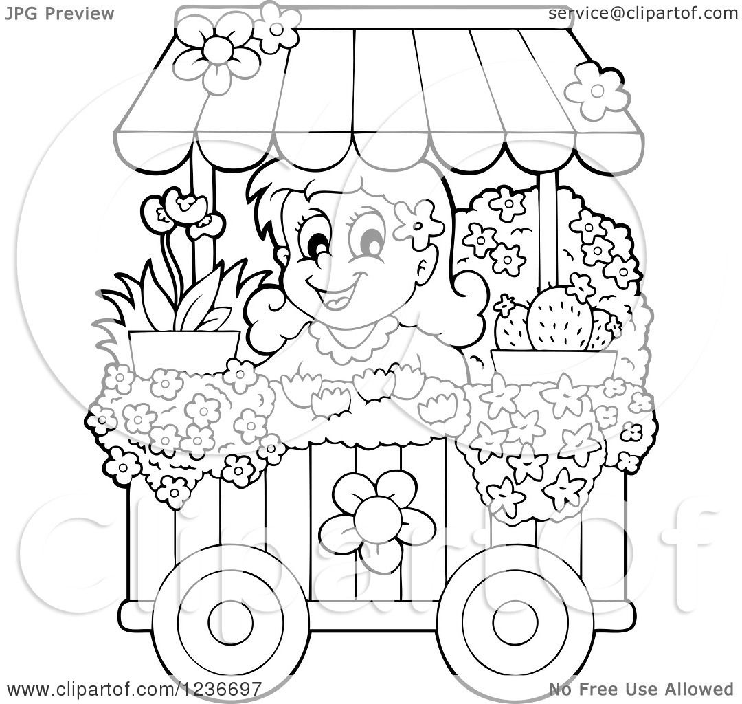 Clipart Of A Black And White Happy Girl Working At A