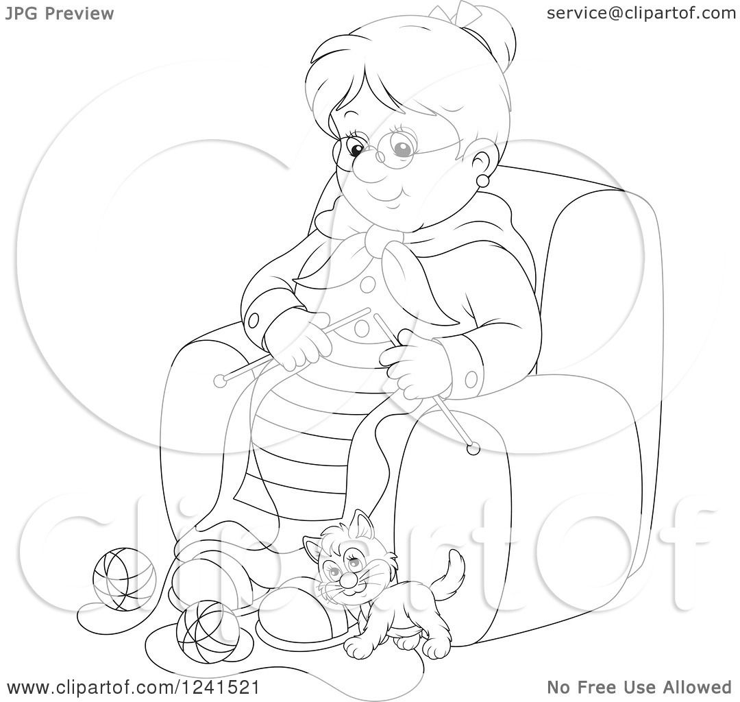 Clipart Of A Black And White Happy Granny Knitting While A