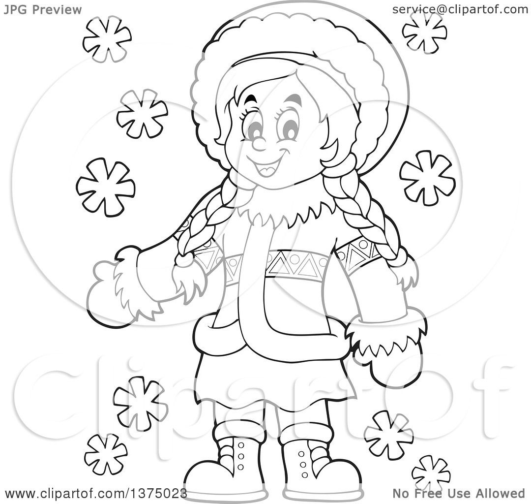 Clipart Of A Black And White Happy Inuit Eskimo Girl
