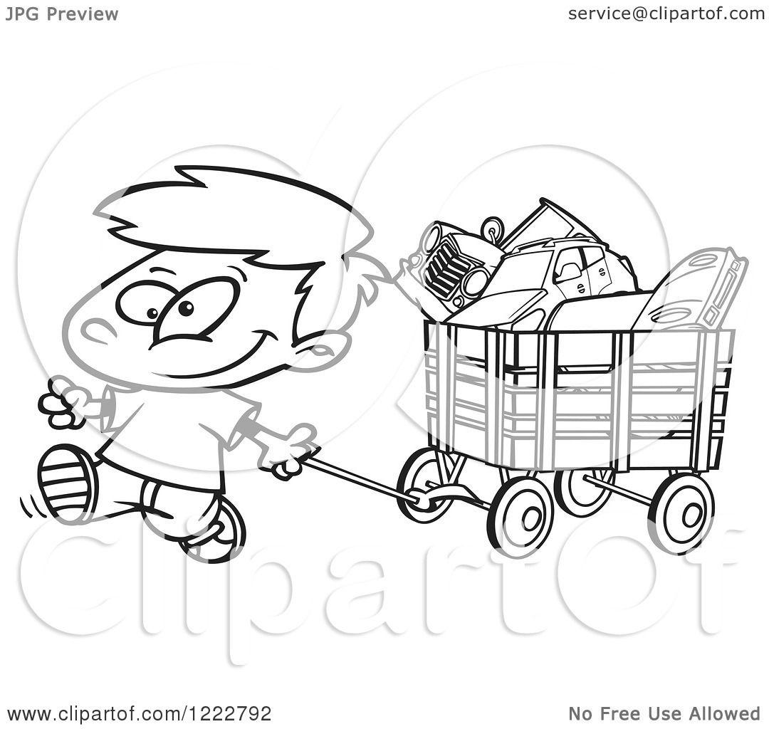 Clipart Of A Black And White Happy Little Boy Pulling A