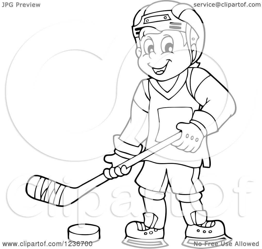 Clipart Of A Black And White Happy Male Ice Hockey Player