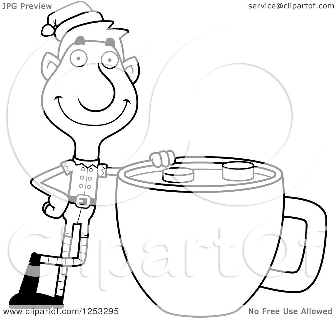 Clipart Of A Black And White Happy Man Christmas Elf With