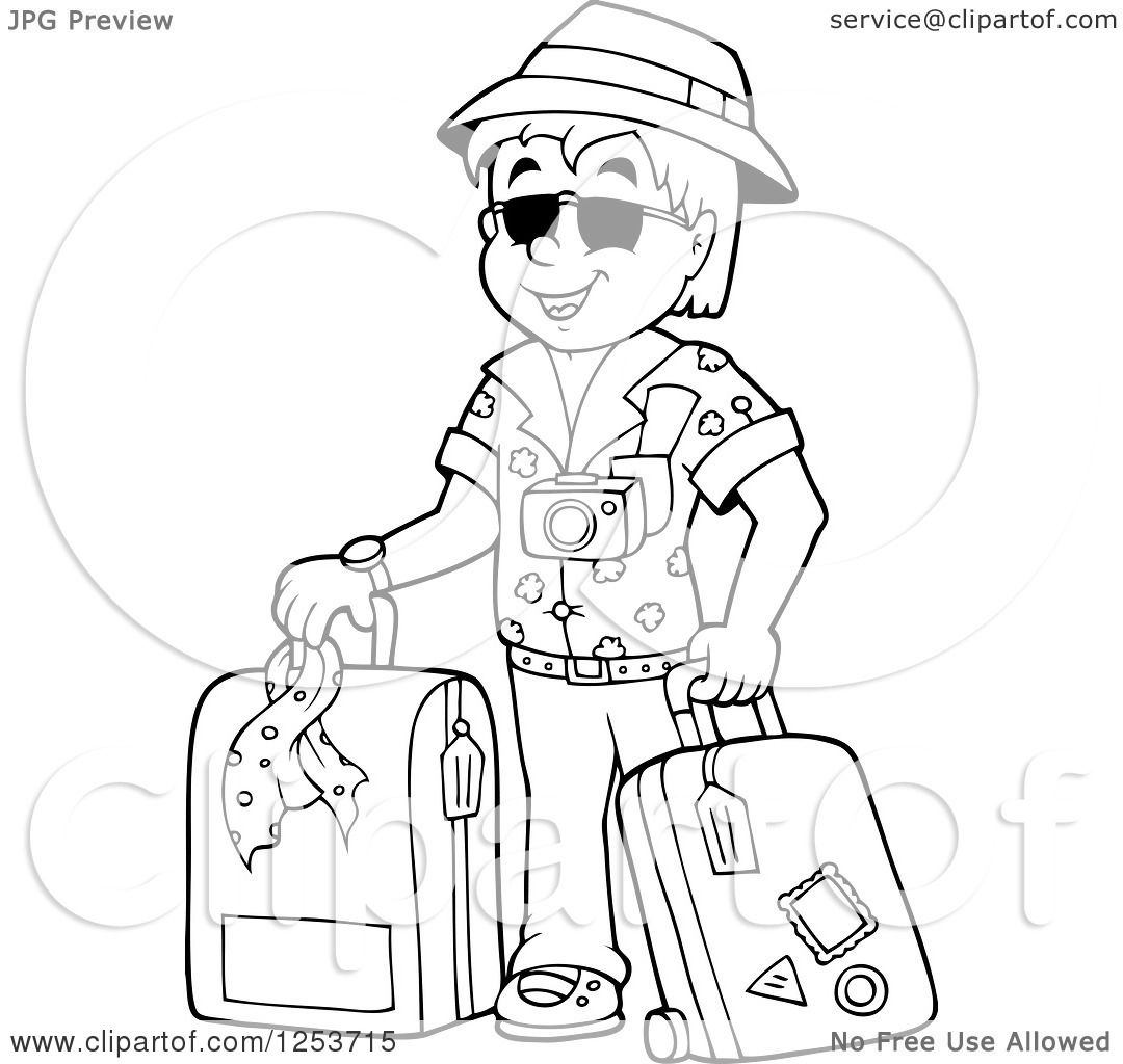 Clipart Of A Black And White Happy Man Traveler With