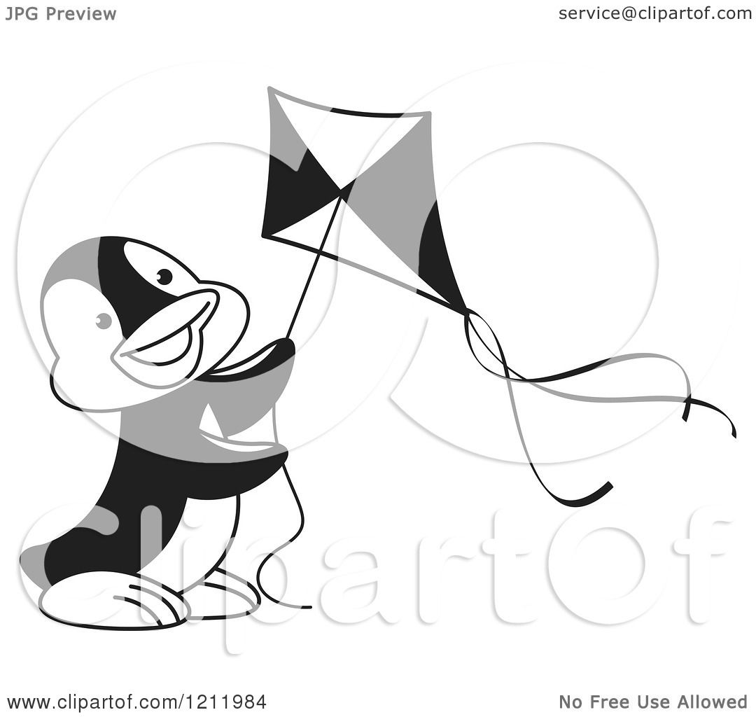 Clipart Of A Black And White Happy Penguin Flying A Kite