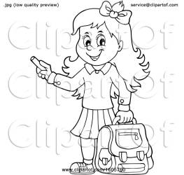 Clipart of a Black and White Happy School Girl Holding a Backpack and Piece of Chalk Royalty Free Vector Illustration by visekart #1605760