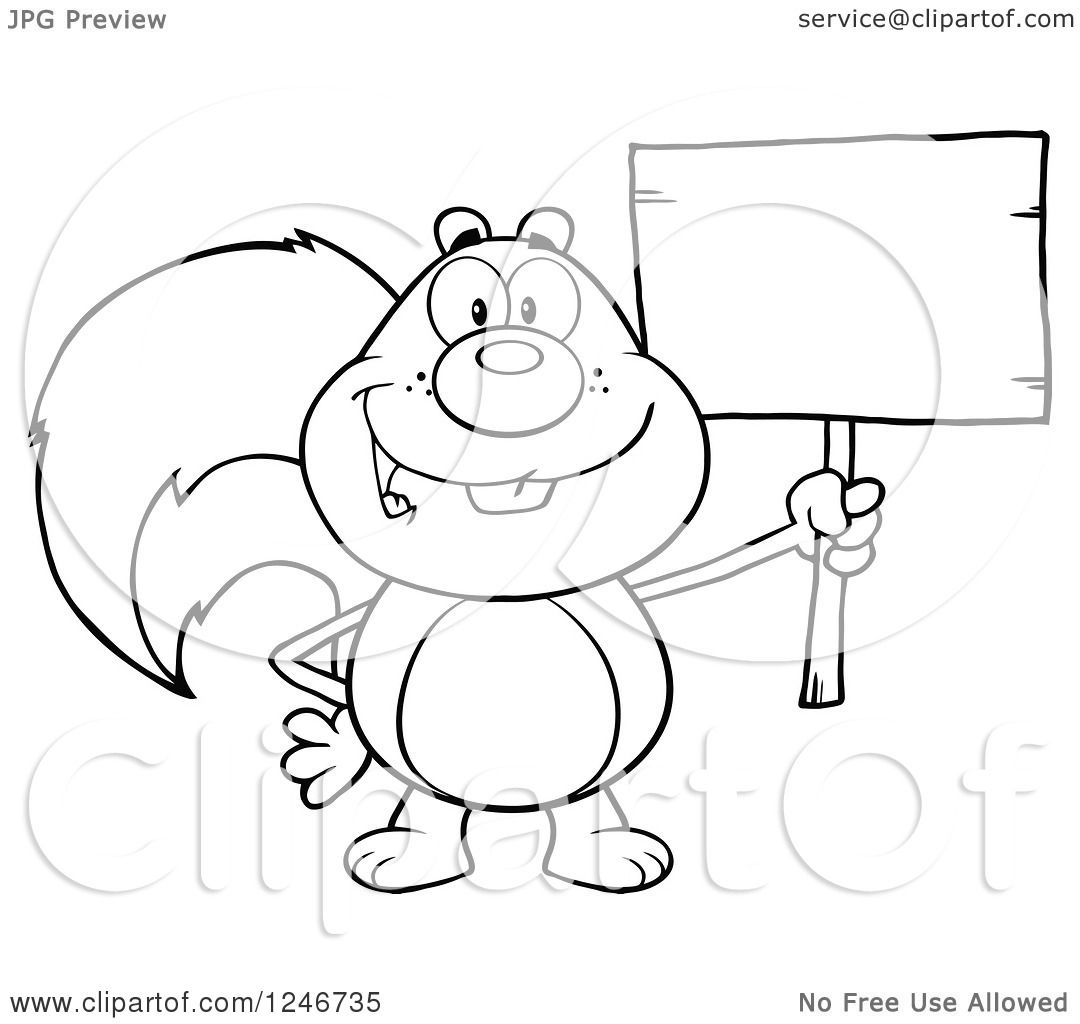 Clipart Of A Black And White Happy Squirrel Holding A