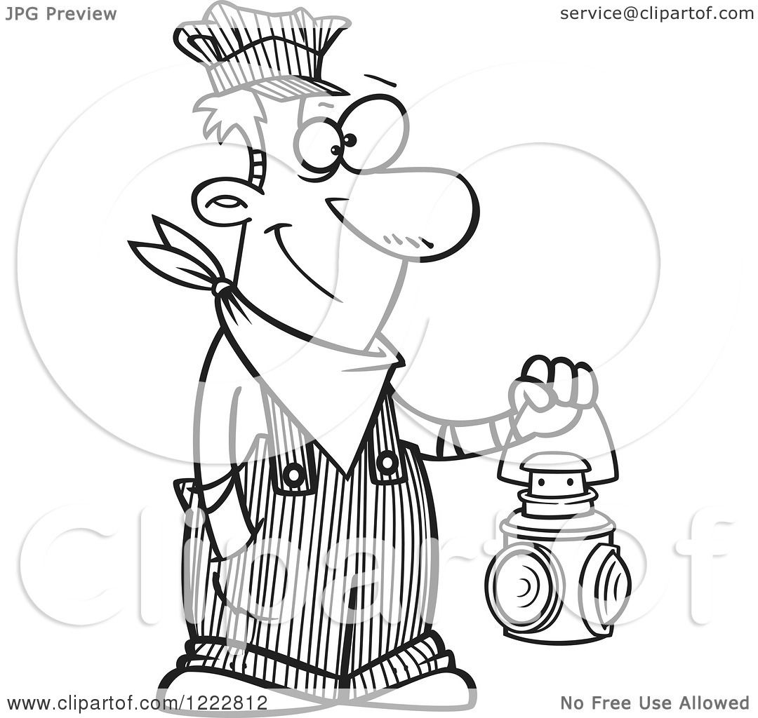 Clipart Of A Black And White Happy Train Engineer Man