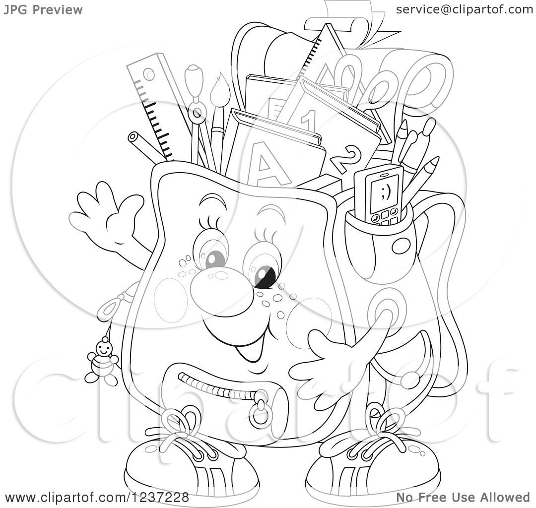 Clipart Of A Black And White Happy Waving Backpack Full Of