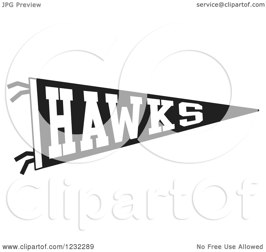 Clipart Of A Black And White Hawks Team Pennant Flag